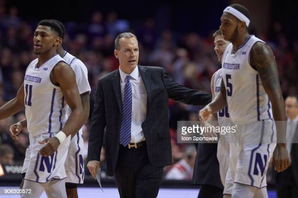 Northwestern Wildcats head coach Chris Collins talks to his players during the BIG Ten college basketball game between the Northwestern Wildcats and...