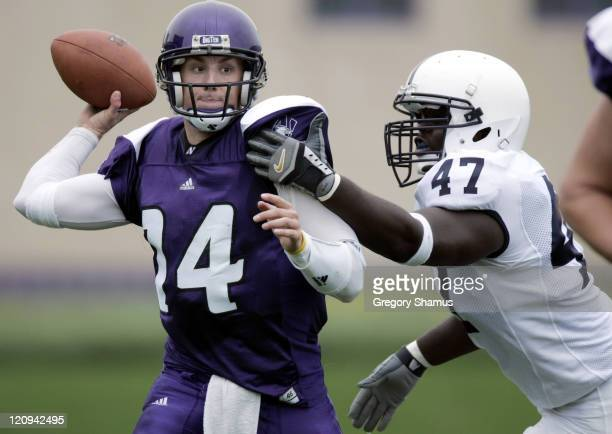 Northwestern's Brett Basanez throws while under pressure versus Penn State at Ryan Field in Evanston Illinois Sept 24 2005