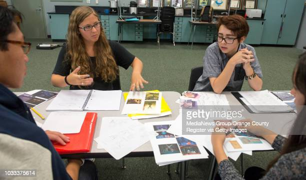 Northwood HIgh School discuss set and costume design Pictured from left Joshua Lee set designer for the forest Madison Chmielewski head props manager...