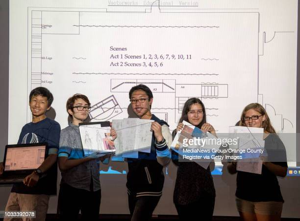 Northwood HIgh School students are shown against a VectorWorks projection of a set designed by students for an upcoming production Pictured from left...