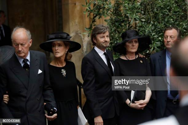Norton Knatchbull 3rd Earl Mountbatten of Burma and his wife Penelope leave the funeral service of Patricia Knatchbull Countess Mountbatten of Burma...