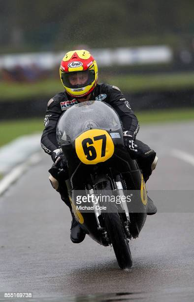 Norton Manx 500 entrant Sally Russell ridden by Gordon Russell Ian Simpson in the Barry Sheene Memorial Trophy at Goodwood on September 8th 2017 in...