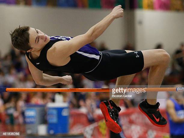 Norton's Camden Cleathero clears the high jump at a height of 5 feet 3 inches at the Division 4 track relays at the Reggie Lewis Center in Roxbury...