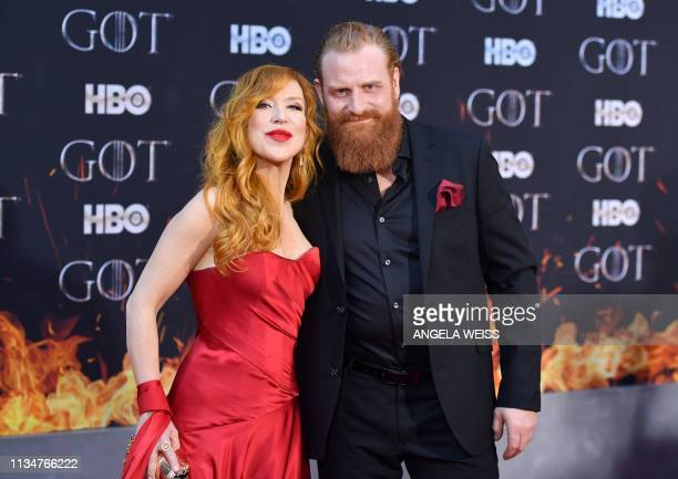 Norvegian actor Kristofer Hivju and his wife Gry Molvær Hivju arrive for the Game of Thrones eighth and final season premiere at Radio City Music...