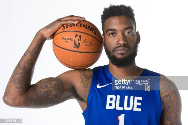 Norvel Pelle of the Delaware Blue Coats poses for a portrait during NBA GLeague media day on October 31 2018 at the Delaware Tech Collage in Newark...