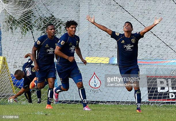 Norvey Orozco of Depor FC celebrates after scoring the first goal of his team during a match between Depor FC and America de Cali as part of 10th...