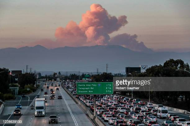 Norwalk CA Sunday Sept 20 2020 The Bobcat Fire as seen from the 105/605 interchange continues to burn becoming one of the largest fires in LA County...
