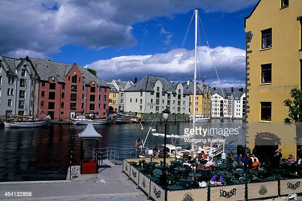 Norway Alesund Harbor Rebuilt Warehouses In The Art Nouveau Style After 1904 Fire