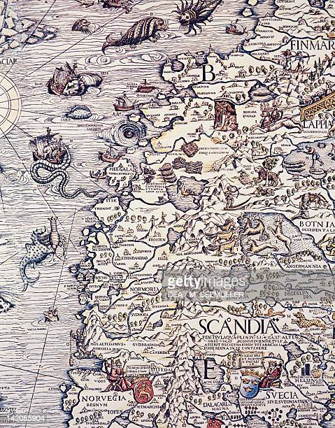 Norway and Sweden by Olaus Magnus taken from marine charts 16th Century Plate