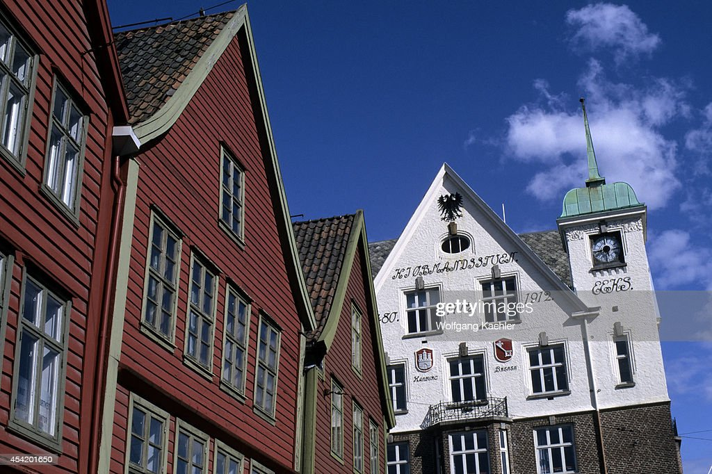 Norway, Bergen, Bryggen District With Historic Houses...