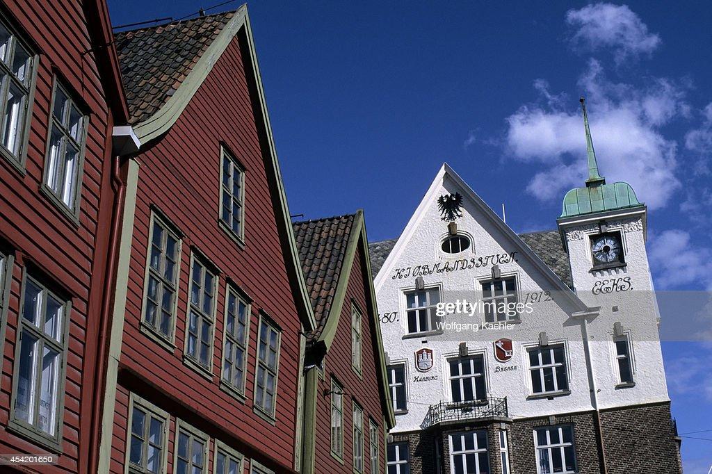Norway, Bergen, Bryggen District With Historic Houses.