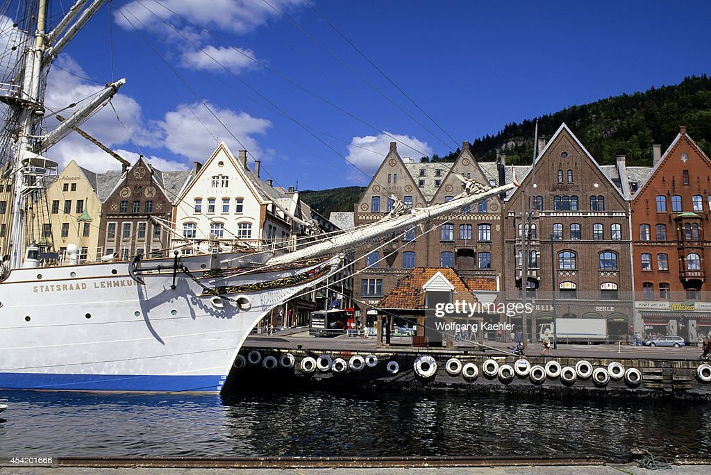 Norway, Bergen, Bryggen District With Tall Ship, Statsraad Lehmkuhl.