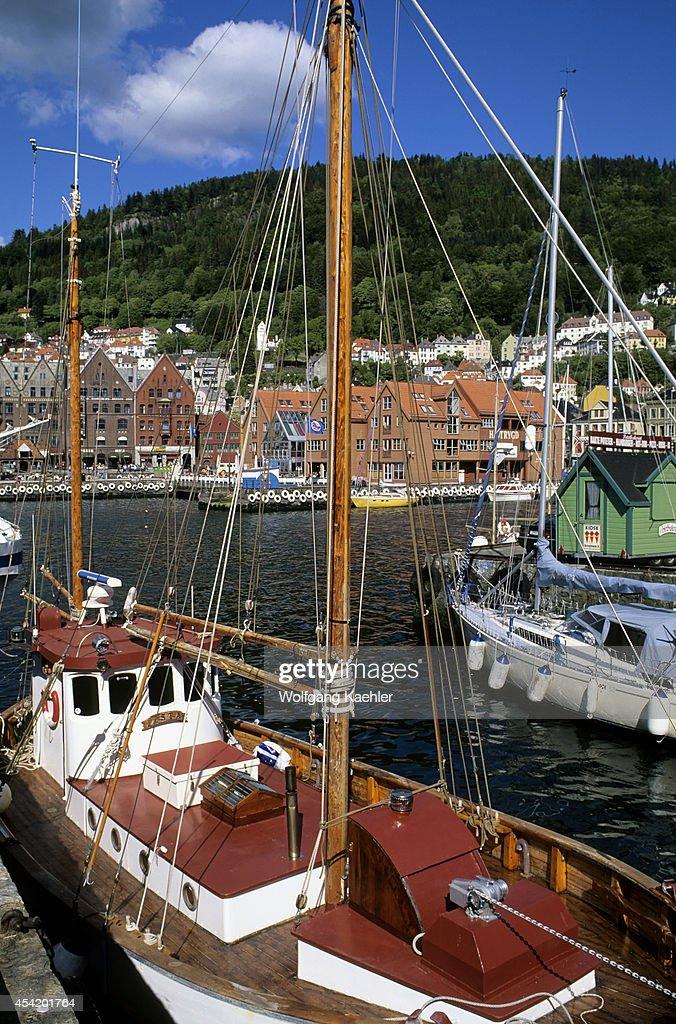 Norway, Bergen, Harbor With Bryggen District In Background.