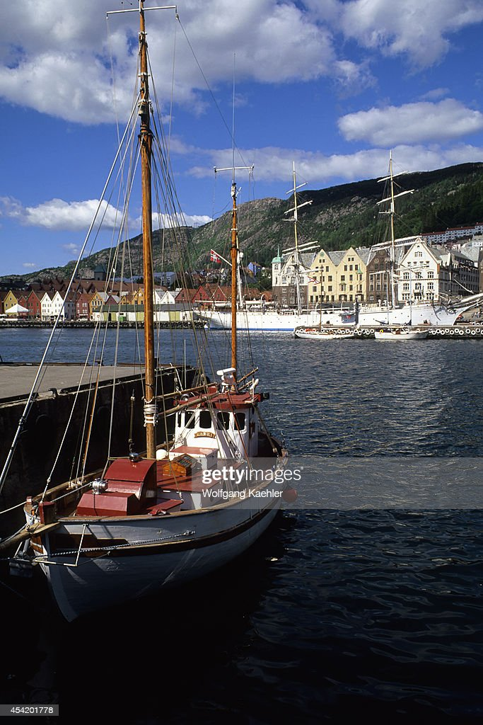 Norway, Bergen, Harbor With Bryggen District In Background.