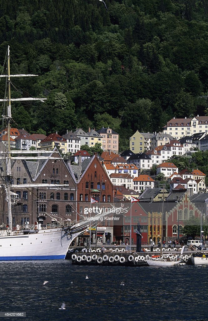 Norway, Bergen, View Of Bryggen District With Tall Ship, Statsraad Lehmkuhl.