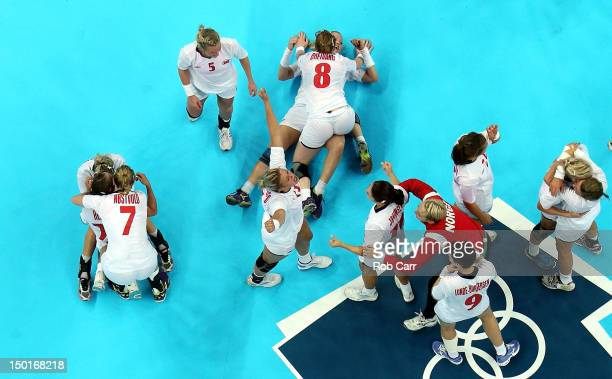 Norway celebrates winning the gold medal against Montenegro in the Women's Handball Final Match on Day 15 of the London 2012 Olympics Games at...