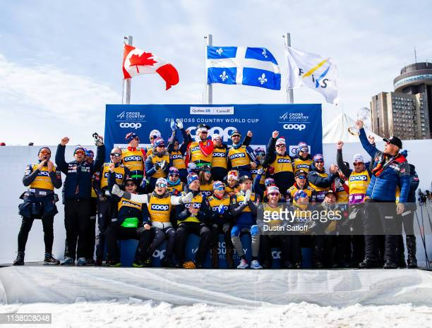 Norway celebrates winning the World Cup Nations Cup after the end of the 2019 FIS World Cup Season during the FIS Cross Country Ski World Cup Final...