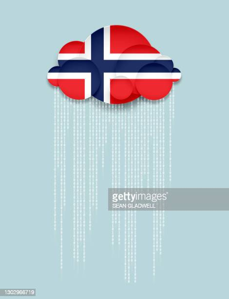 norway cloud computing illustration - norwegian flag stock pictures, royalty-free photos & images