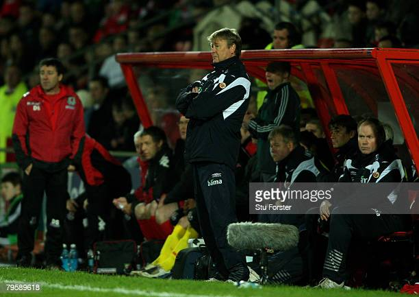 Norway coach Age Hareide and his bench look on during the International Friendly Match between Wales and Norway at The Racecourse Ground on February...
