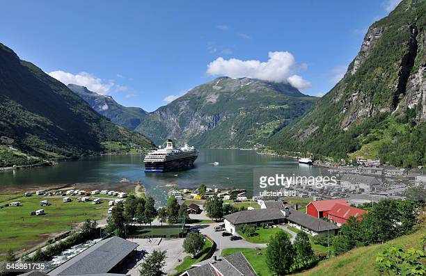 Norway Cruise liner in the harbour of the Geirangerfjord