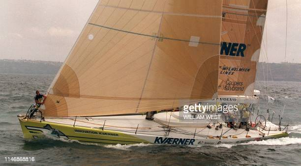Norway entrant Innovation Kvaerner heads out of Sydney Harbour at the start of the fourth leg of the Whitbread RoundtheWorld race from Sydney to...