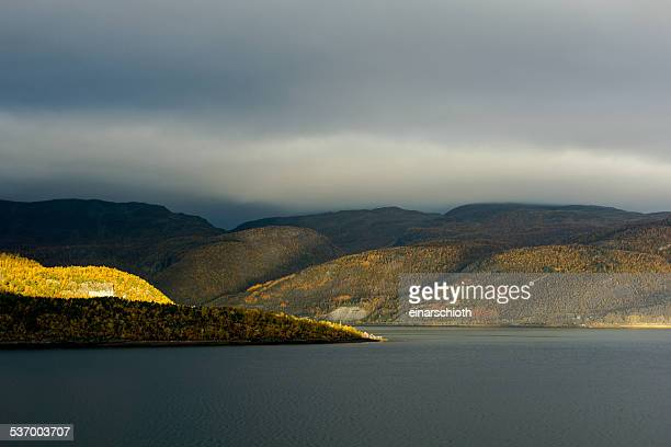 Norway, Finnmark, Landscape with lake, hills and overcastted sky