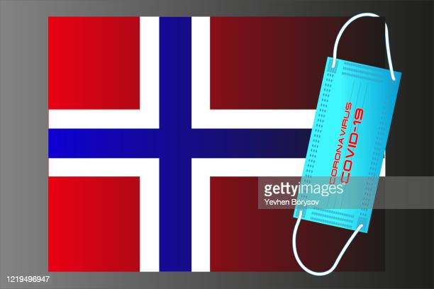 norway flag with vector illustration of disposable mask and covid-19 inscription - banner vector stock pictures, royalty-free photos & images