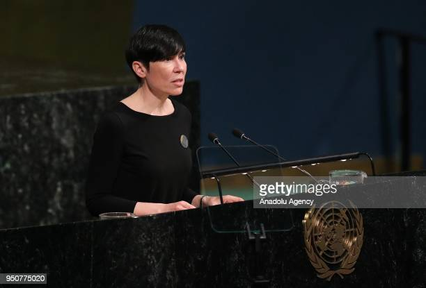 Norway Foreign Minister Ine Eriksen Soreide speaks during a high level meeting on 'Peacebuilding and Sustaining Peace' at United Nations General...