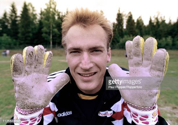 Norway goalkeeper Erik Thorstvedt during a training session before the 1994 FIFA World Cup Qualifying match between Norway and England on June 1 1993...