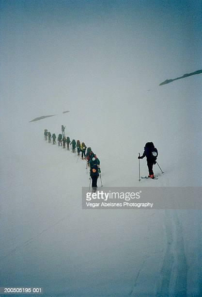 Norway, group of randonee skiers moving in single file