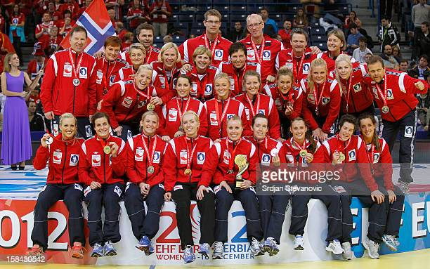 Norway handball team players posing on the podium after taking the second place during the Women's European Handball Championship 2012 medal ceremony...