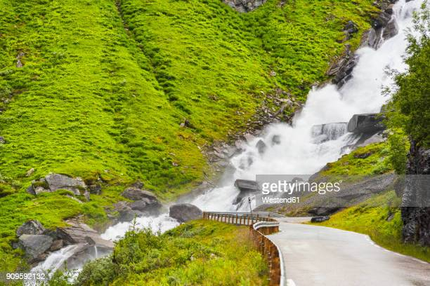 Norway, Hedmark, Tufsindalen Valley, Road, Waterfall