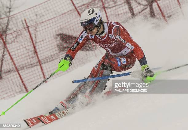Norway Henrik Kristoffersen competes in the first run of the FIS Alpine World Cup Men's Slalom on December 10 2017 in Val d'Isere French Alps / AFP...