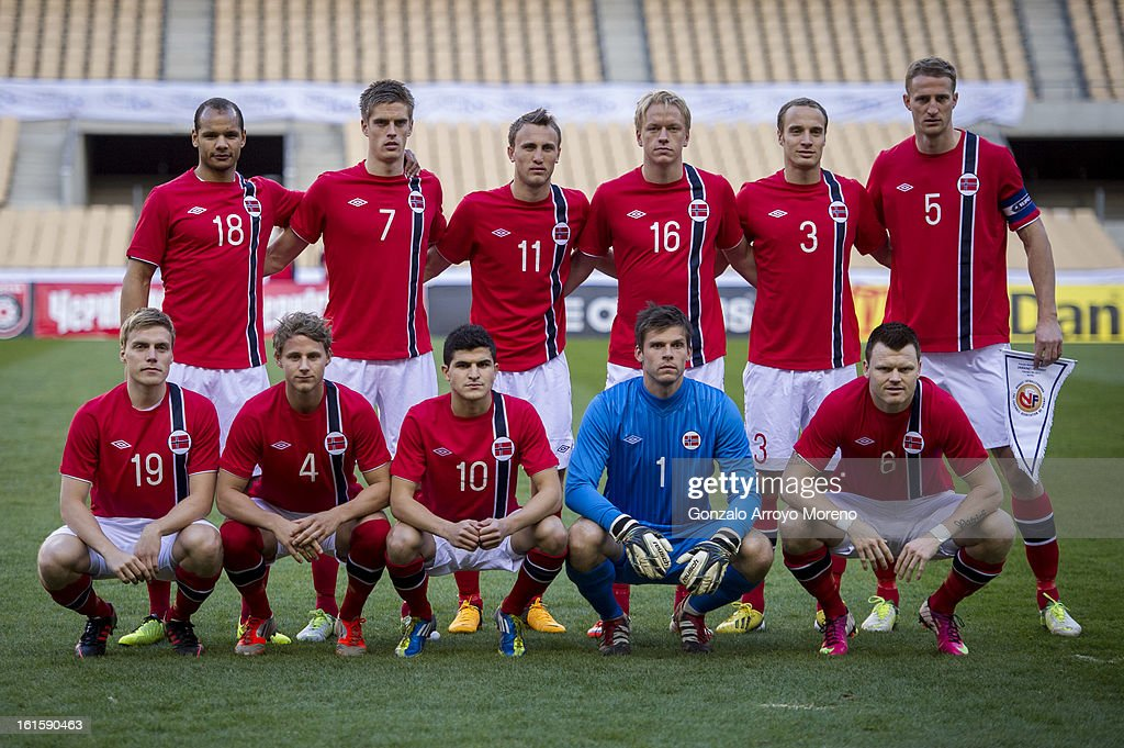 Norway lineup prior to start the international friendly football match between Norway and Ukraine at Estadio Olimpico de Sevilla on February 6, 2013 in Seville, Spain.
