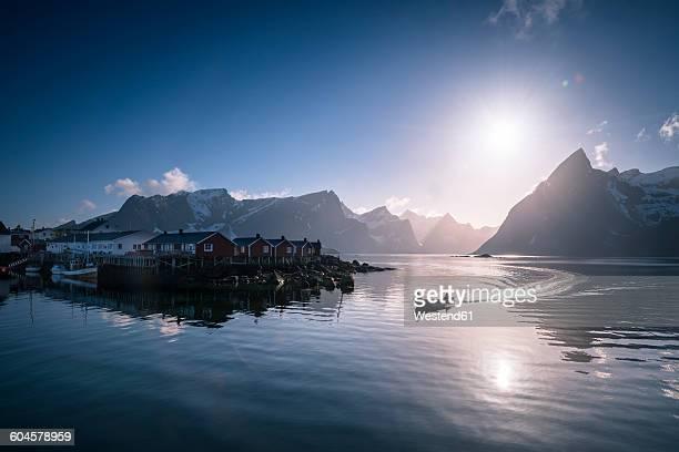 Norway, Lofoten, fishing boat in fjord