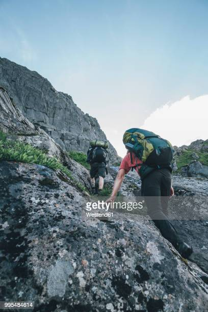 Norway, Lofoten, Moskenesoy, Young man hiking in the mountains