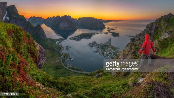 Norway Lofoten Reine from Top of Mountain