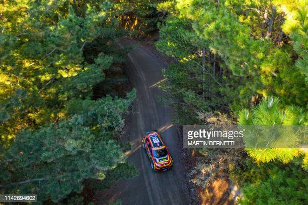 Norway Mads Ostberg driver steers his Citroen WRC with his compatriot codriver Torstein Eriksen during the SS4 of the WRC Chile 2019 near Curanilahue...