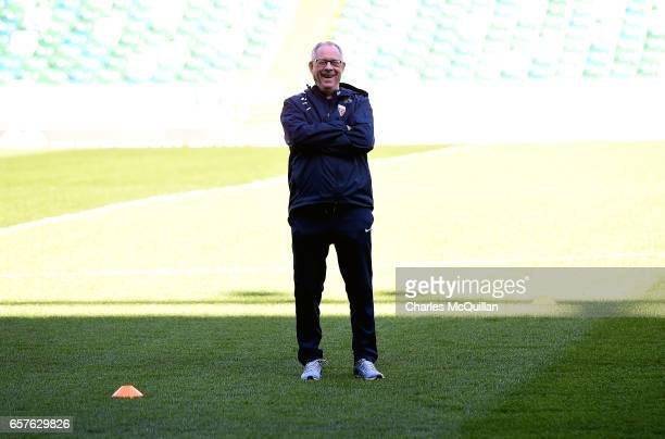 Norway manager Lars Lagerback pictured during Norway's interntional football squad training session at Windsor Park on March 25 2017 in Belfast...