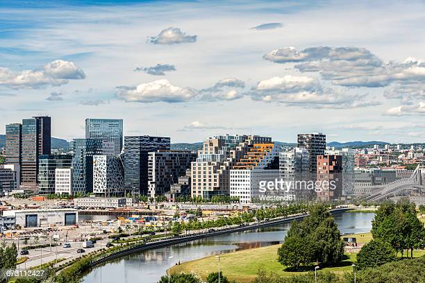 norway, oslo, bjorvika district, barcode project, high-rise buildings - オスロ ストックフォトと画像