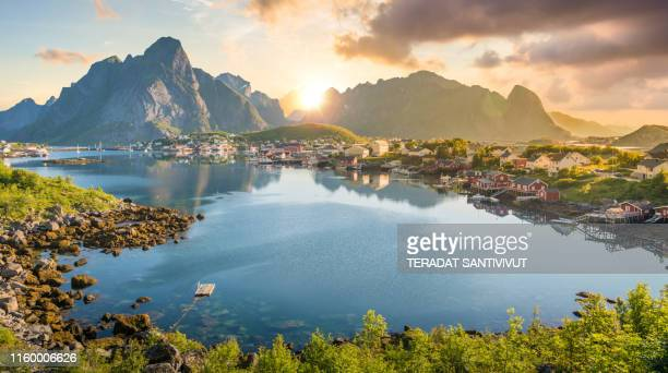 norway panoramic view of lofoten islands in norway with sunset scenic - オスロ ストックフォトと画像