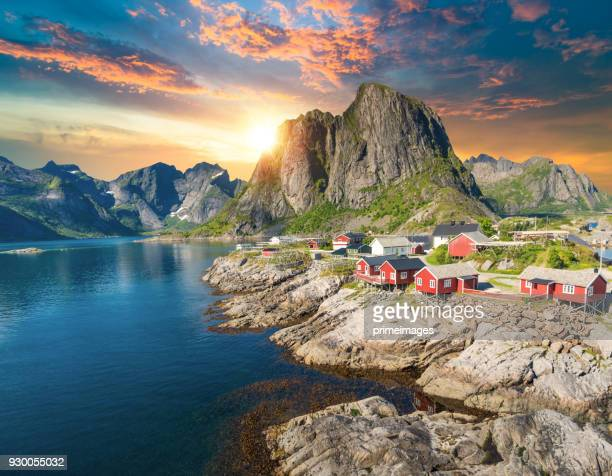 norway panoramic view of lofoten islands in norway with sunset scenic - lofoten stock pictures, royalty-free photos & images