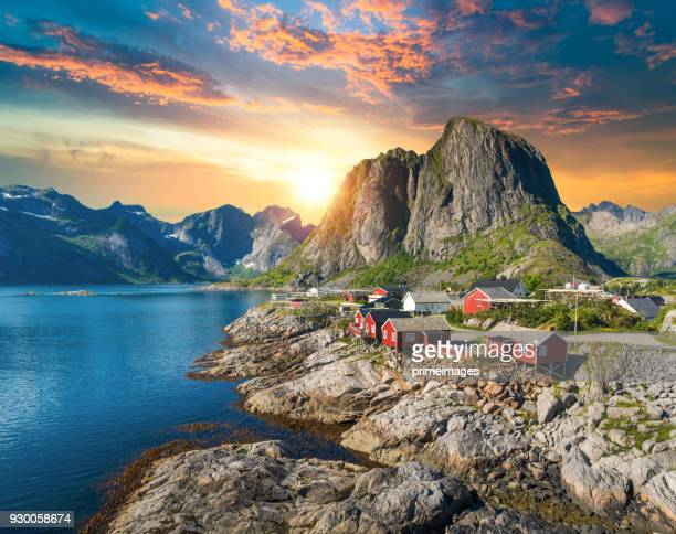 norway panoramic view of lofoten islands in norway with sunset scenic - norwegian culture stock pictures, royalty-free photos & images