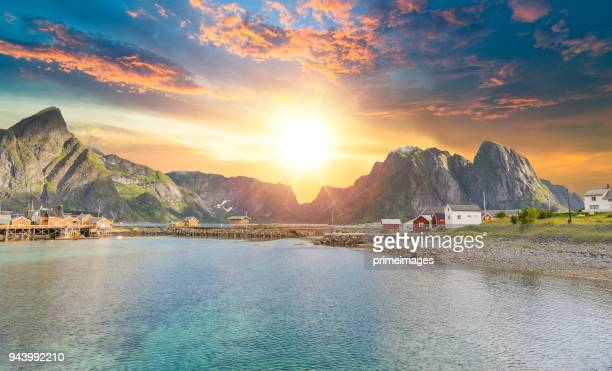 Norway Panoramic view of Lofoten Islands in Norway with sunset scenic