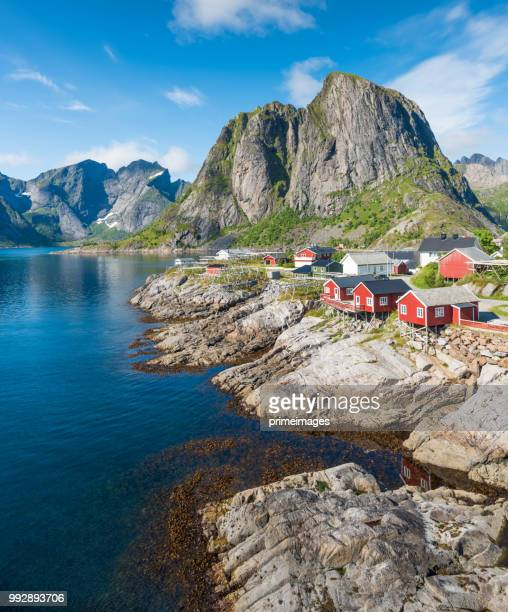 norway panoramic view of lofoten islands in norway with sunset scenic - norvegia foto e immagini stock