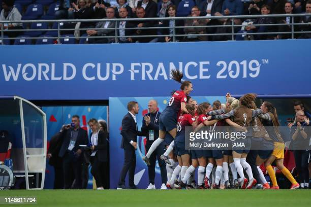 Norway players celebrate after Osinachi Ohale of Nigeria of Nigeria scores an own goal to make it 30 during the 2019 FIFA Women's World Cup France...