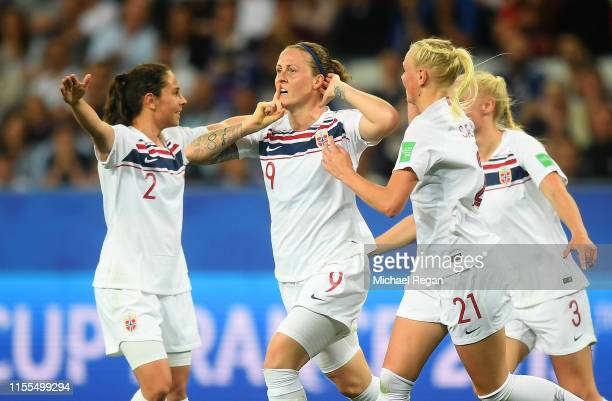 Norway players celebrate after their team's first goal during the 2019 FIFA Women's World Cup France group A match between France and Norway at Stade...
