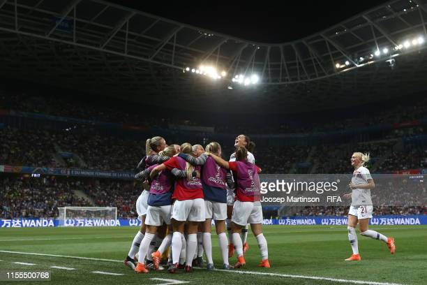 Norway players celebrate their first goal during the 2019 FIFA Women's World Cup France group A match between France and Norway at Stade de Nice on...