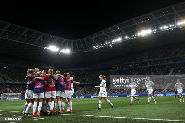 Norway players celebrates their first goal during the 2019 FIFA Women's World Cup France group A match between France and Norway at Stade de Nice on...