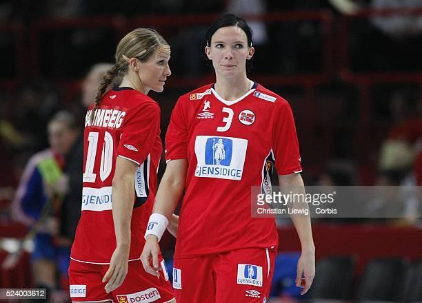 Norway players Gro Hammerseng and Katja Nyberg during the 2007 Women's Handball World Championships